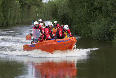 photograph of British Red Cross emergency relief teams during floods in Gloucester