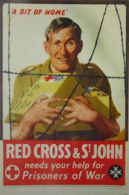 "Laminated poster featuring a soldier behind barb-wire clutching a food parcel with the words ""a bit of home"""