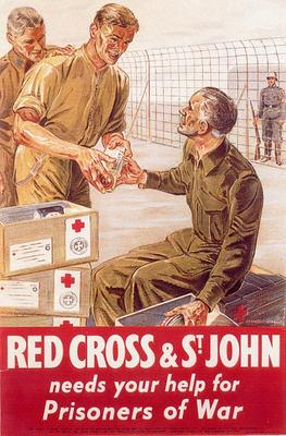 Poster produced by the British Red Cross Society and the Order of St John to appeal for funds to help Prisoners of War.