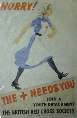 Laminated colour photocopy of poster featuring a young woman running and the word 'HURRY!'. Woman wears the indoor uniform of the British Red Cross