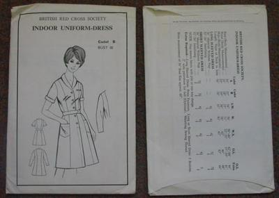 A5 sized white paper pouch containing folded white sheets with print and sketches for British Red Cross Society indoor uniform pattern for cadets.