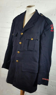 Male overcoat with insignia for British Red Cross and Essex Branch