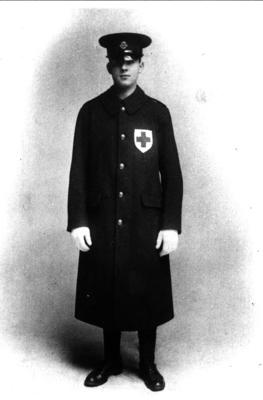 Member wearing the first British Red Cross men's uniform