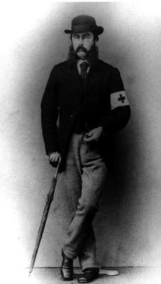 Mr Stewart wearing a Red Cross brassard in Saarbrucken