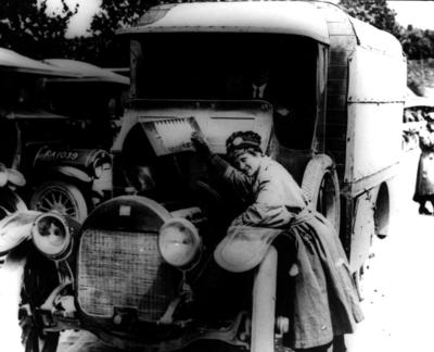 Female Red Cross ambulance driver in Etaples, France