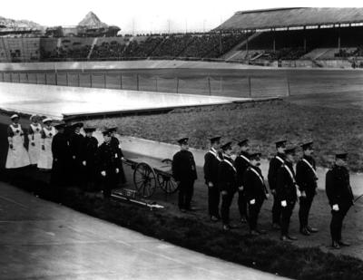 photograph of County of London personnel on duty at White City football stadium; Printed Docs (museum)/Photograph: Print; H/PHO/2007/3