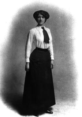 Front view of first British Red Cross female uniform