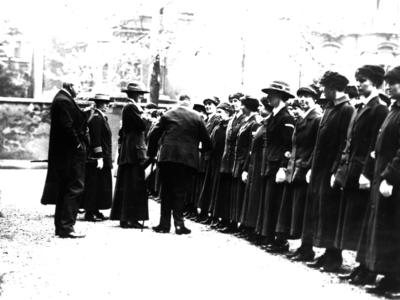 A group of VADs are greeted by Sir Arthur Stanley before their departure to Salonika, Greece