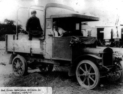 A lorry with two female Red Cross drivers in France