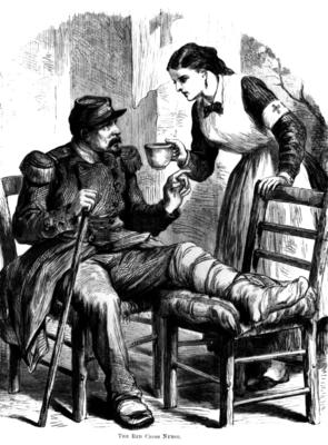 Depiction of Red Cross nursing during the Franco-Prussian War