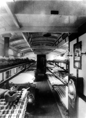 Interior shot of the ward onboard the Princess Christian hospital train