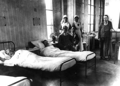 Interior shot of ward in a Red Cross auxiliary hospital