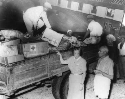 Antigua Branch receiving British Red Cross relief supplies