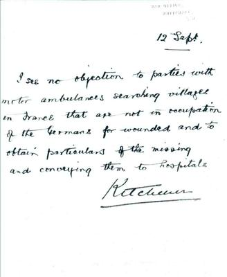 Letter sent by Lord Kitchener from the War Office