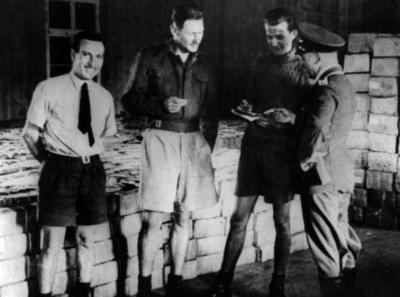 Red Cross food parcels in a prisoner of war camp