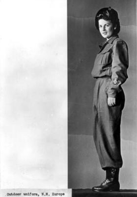 Outdoor uniform for female British Red Cross personnel in north-west Europe