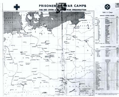 Photograph of a map of prisoner of war camps in Germany