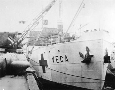 International Red Cross ship the 'Vega' in dock with food parcels for relief to civilians in Guernsey