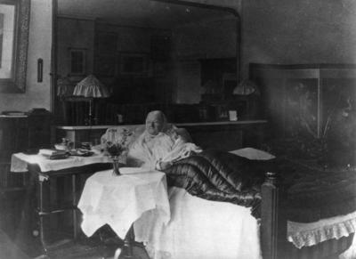 Florence Nightingale in old age sitting up in bed