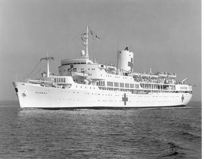 Hospital ship 'Uganda' returning to the UK with Naval nursing sisters and member of St John and Red Cross Service Hospital Welfare Department