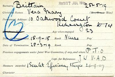 First World War service record card of Vera Brittain, VAD nurse and member of London/268