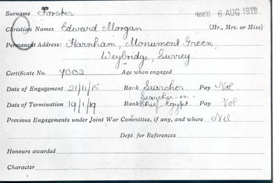 First World War service record card for Edward Forster, writer