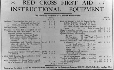 Red Cross first aid instructional equipment inventory list