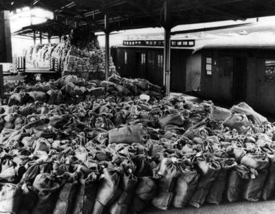 Prisoner of war parcels awaiting transit at Basle station in Switzerland