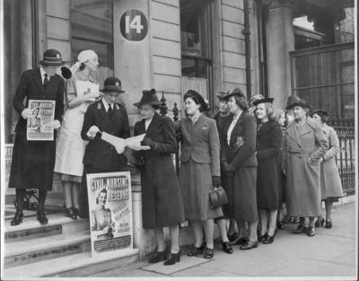 Volunteers outside National Headquarters, London
