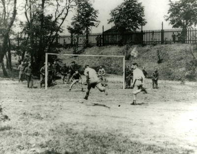 Prisoners playing a game of football in Stalag XXA
