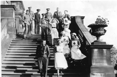Red Cross Convalescent Home with patients and nurses on the terrace steps; JWO/6/13/IN0705