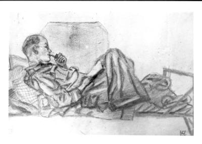 Sketches of prisoner of war camp life by prisoner of war John Watton, 'man sitting in top bunk'