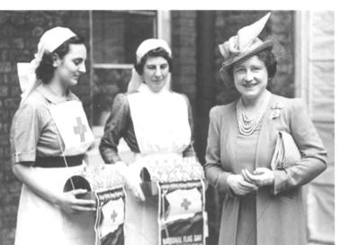 HM Queen with flagsellers at St James's Palace