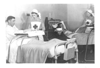 Nurses attending patients at a Hammersmith Hospital