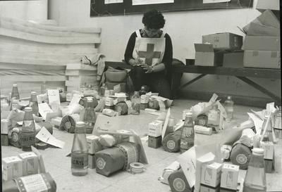 Red Cross personnel recording newly arrived medical supplies for Lebanonese hospitals and clinics