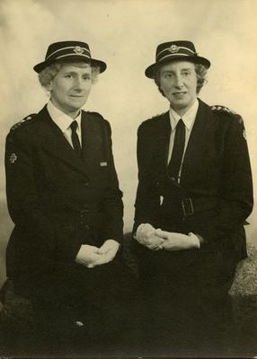 Marjorie Clay and Miss Reid, Commandant of Coulsdon and Purley Detachment