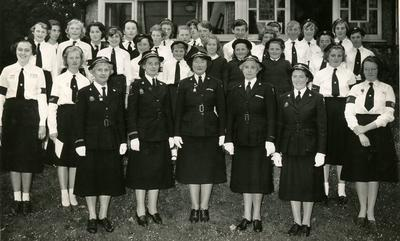 Group of Cadets and Officers in Uniform including Marjorie Clay