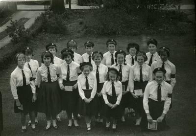 Group of Cadets in a Garden holding Certificates