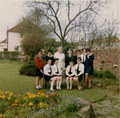 Marjorie Clay and Cadets in a Garden
