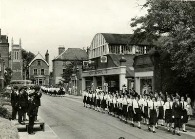 British Red Cross Cadets passing the Salute at the County Red Cross Parade in Farnham, Surrey