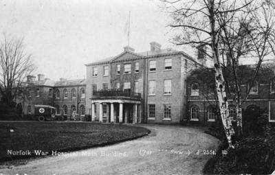 Postcard showing exterior view of main building of Norfolk war hospital