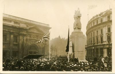 Postcard view of statue of Nurse Edith Cavell in St Martin's Place, London