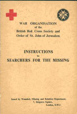Front cover of Joint War Organisation publication 'Instructions to Searchers for the Missing'