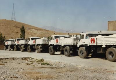 Side view of 'the simple truth' convoy of lorries with aid deliveries