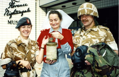 Military and nursing personnel outside the Florence Nightingale Museum at the opening of the Gulf War exhibition