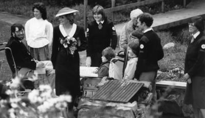 Princess Diana during a visit to a British Red Cross ActiVenture Holiday at Hindleap Warren, Sussex