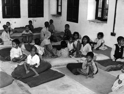 Photograph showing children from the East Punjab in the unclaimed children's refugee camp in Lahore
