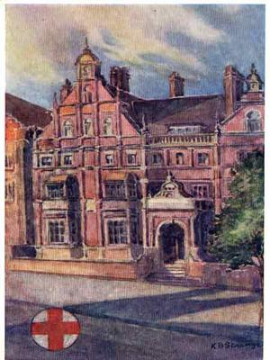 Postcard view of exterior of Michie Hospital, Queen's Gate, London