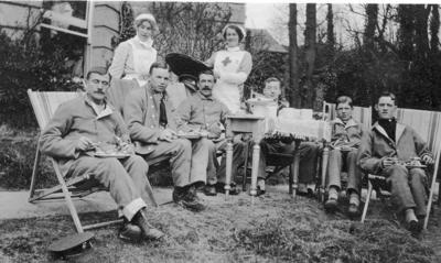 Sister White and VAD Sybil Hare with Patients at Ashcombe House Red Cross Hospital in Weston-Super-Mare, Somerset; RCB/2/9/5/122
