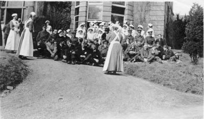 Group of Nursing Staff and Patients at Ashcombe House Red Cross Hospital in Weston-Super-Mare, Somerset